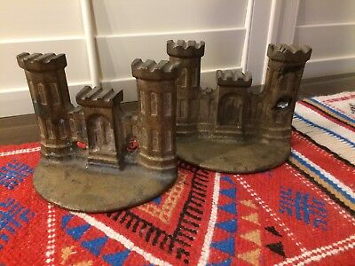 Pair Of Rare Antique Spelter Castle Bookends Gilted - Old!