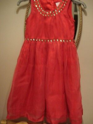 Girls NEXT Signature Red Party Dress Aged 7 Years