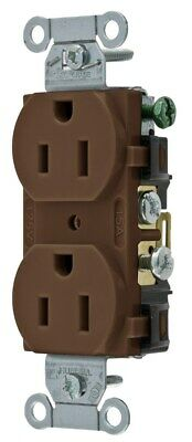Hubbell CR15 Duplex Receptacle, 15 amp, 125V, 5-15 R, Brown