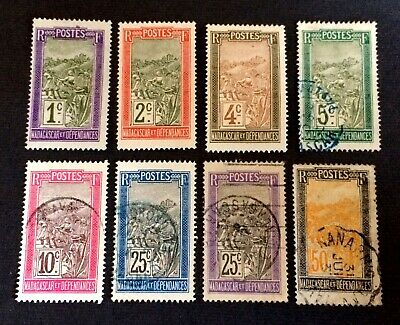 French Madagascar 1908-1933 - 8 used and unused stamps