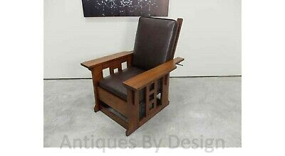 C1910 Rare Mission Arts + Crafts Quartered Oak Brooks Paddle Arm Morris Chair
