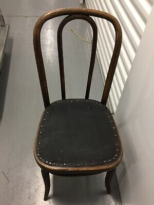 Vintage Bentwood Chair Brown Black Seat Ice Cream Parlor Bistro Cafe