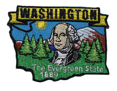 State Of Washington Embroidered Iron On Patch - Evergreen Travel Souvenir 222-X