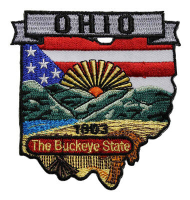 State Of Ohio Embroidered Iron On Patch - Buckeye  Travel Souvenir 222-W