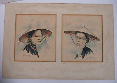 "Old Original Chinese Watercolour Portrait Paintings - Signed ""Ng.Troing.San"""