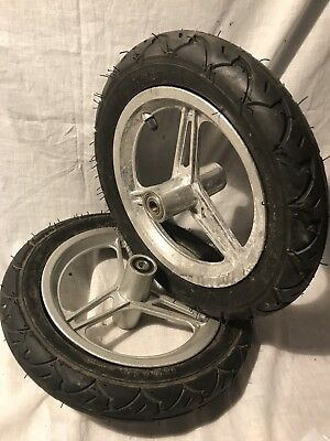 "12.5"" x 2.25"" Pneumatic Tire + Cast Aluminum Wheel Rim 4"" Hub Yard Cart 2x Lot"