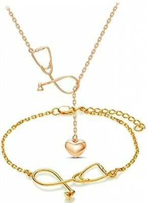 CHUYUN Stethoscope Inspired Necklace Bangle Bracelet Jewerly Set, Lariat Y Love
