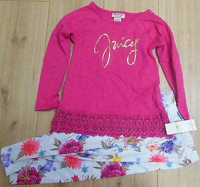Juicy Couture girl top t-shirt tunic & leggings set 3-4 y BNWT designer pink