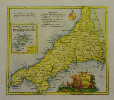 Antique map of Cornwall by Thomas Kitchin 1760