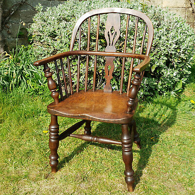C19th Elm & Ash Georgian Low Back Windsor Country Armchair Carver (Antique)