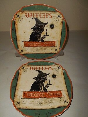4 CONNECTIONS Halloween Green Salad Plates WITCHES Cauldron Serum Apothecary