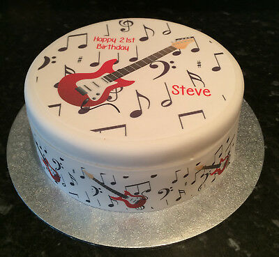 Red Electric Guitar pre-cut Edible Icing Cake Topper or Ribbon
