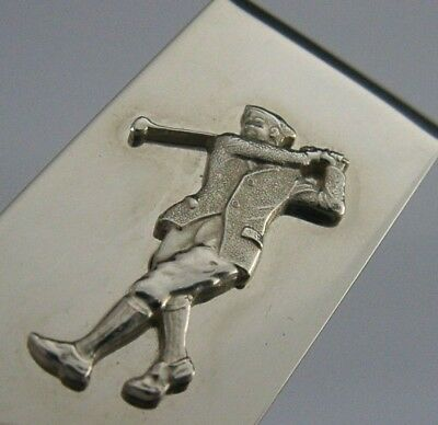 Quality English Solid Sterling Silver Golfing Money Clip London 2006