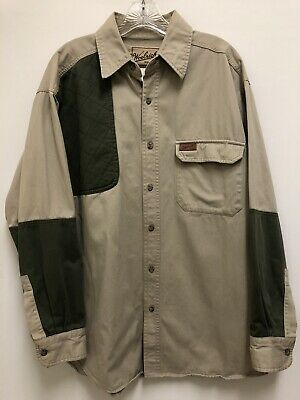 c6076355acc51 Woolrich Men's Large Tan Green Hunting Shooting Shirt Quilted Shoulder Patch