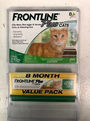 Frontline Plus for Cats Kills Fleas Eggs Larvae Ticks- 8 MONTH SUPPLY- 8 Doses