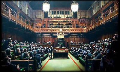 A4 Banksy Art Photo Prints Quality (Monkey Parliament),