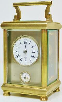 Antique French Carriage Clock With Alarm Brass & Glass 8 Day Mask Dial Timepiece