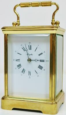 French L'Epee Carriage Clock Platform Escapement Vintage Brass & Glass Timepiece