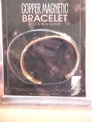 Copper Magnetic Bangle Bracelet -- Gold and Silver Plated