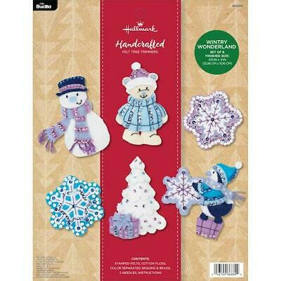 Bucilla Hallmark Felt Applique Kit - Wintry Wonderland Ornaments Set of 6