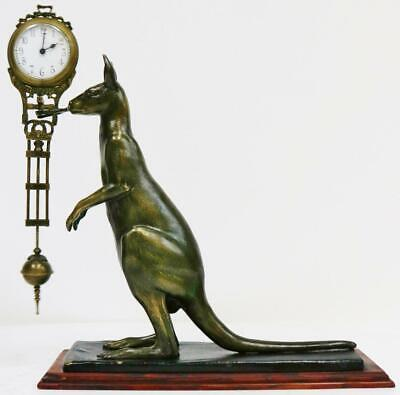 Vintage Later Mystery Clock Swinging Pendulum Kangaroo Figure Mantel Clock