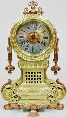 Rare Antique French 8Day Striking Ormolu Striking Mantel Clock Silver Dial C1860