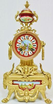 Antique 19thC French 8 Day Striking Gilt Metal & Sevres Porcelain Mantel Clock