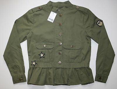 Next - Khaki Green Cotton Military Badge Shacket Jacket - Girls 15 / 16 Years