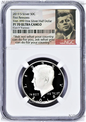 2019 S Silver Kennedy Half Dollar NGC PF70 First Releases JFK from 10-Coin-Set