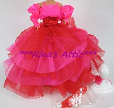 Hot Pink & Red Layered Barbie Doll Party Dress Gown Fashion