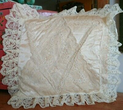 Vintage Cream Cushion Cover Inner Lace Trim Silk Satin Ring Bearer Wedding Old