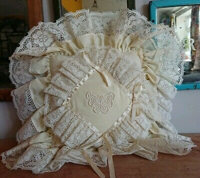 VINTAGE CREAM CUSHION COVER INNER LACE TRIM SILK SATIN RING BEARER WEDDING frill