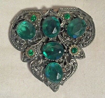 Antique Victorian Edwardian ORNATE Intricate silver Emerald green stone BROOCH