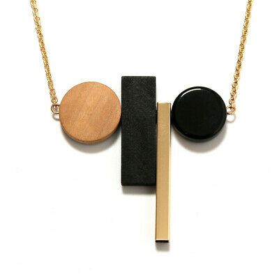 Hot Fashion Vintage Jewelry Geometric Pendant Wood Gold Chain Long Necklace