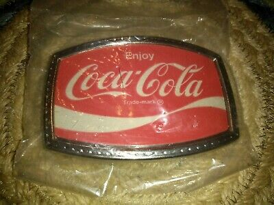 VINTAGE 70's ENJOY COCA-COLA TRADEMARK SODA FOUNTAIN COKE BELT BUCKLE NICE