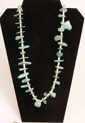 """Antique Navajo  Turquoise + Shell Heishi Necklace 31"""", early 20th century"""