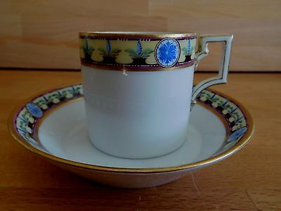 Early 19Th Century Berlin Coffee Can And Saucer Hand Painted Yellow Borders
