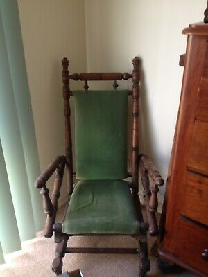 Antique Timber Rocking Chair with Velvet Upholstery