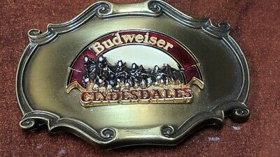 Raintree 1978 Budweiser Clydesdales Logo Brass Belt Buckle Great Condition