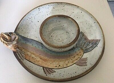 """Fish 3D Hand thrown Plate Dip Bowl Tray Chips Party  Signed 10.5"""""""