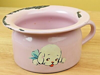Vintage Pink Enamel Chamber Pot SMALL Baby Toddler Nursery Child Hand Painted R