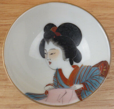 Vintage Hand Painted Geisha Girl Portrait SMALL Porcelain Bowl Ring Dish R