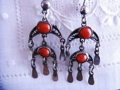 Vintage Sterling Silver Yemenite Bedouin Artisan Red Coral AAA Handmade Earrings