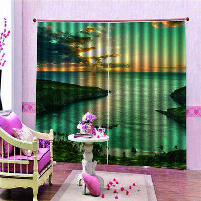 3D Sunset Seaside Digital Printing Waterproof Mildew Shower Curtaiu150*166 u1