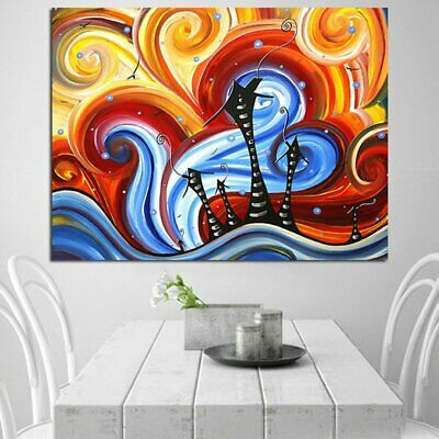 Colourful Retro The World of Dreams Canva Painting No Frame Wall Display u1