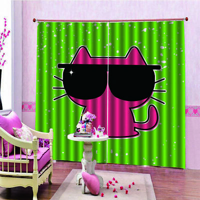Cartoon Cat Curtain 150*166 Home Bedroom Curtain Hotel Decorative Curtain u1