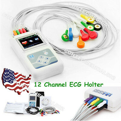 12 Channel ECG Holter ECG/EKG 24 Hours Holter EKG Monitor+Software,TLC5000