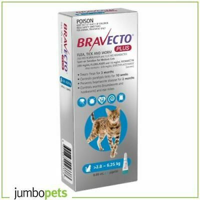 Bravecto Plus Medium Cat 2.8-6.25kg Blue