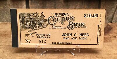 Vintage 40s NOS National Gasoline Coupon Book Gas Motor Oil Station Sign MICH