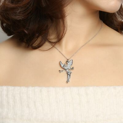 Gifts Women Christmas Fashion Crystal Necklace Fairy Angel Pendant Silver Chain